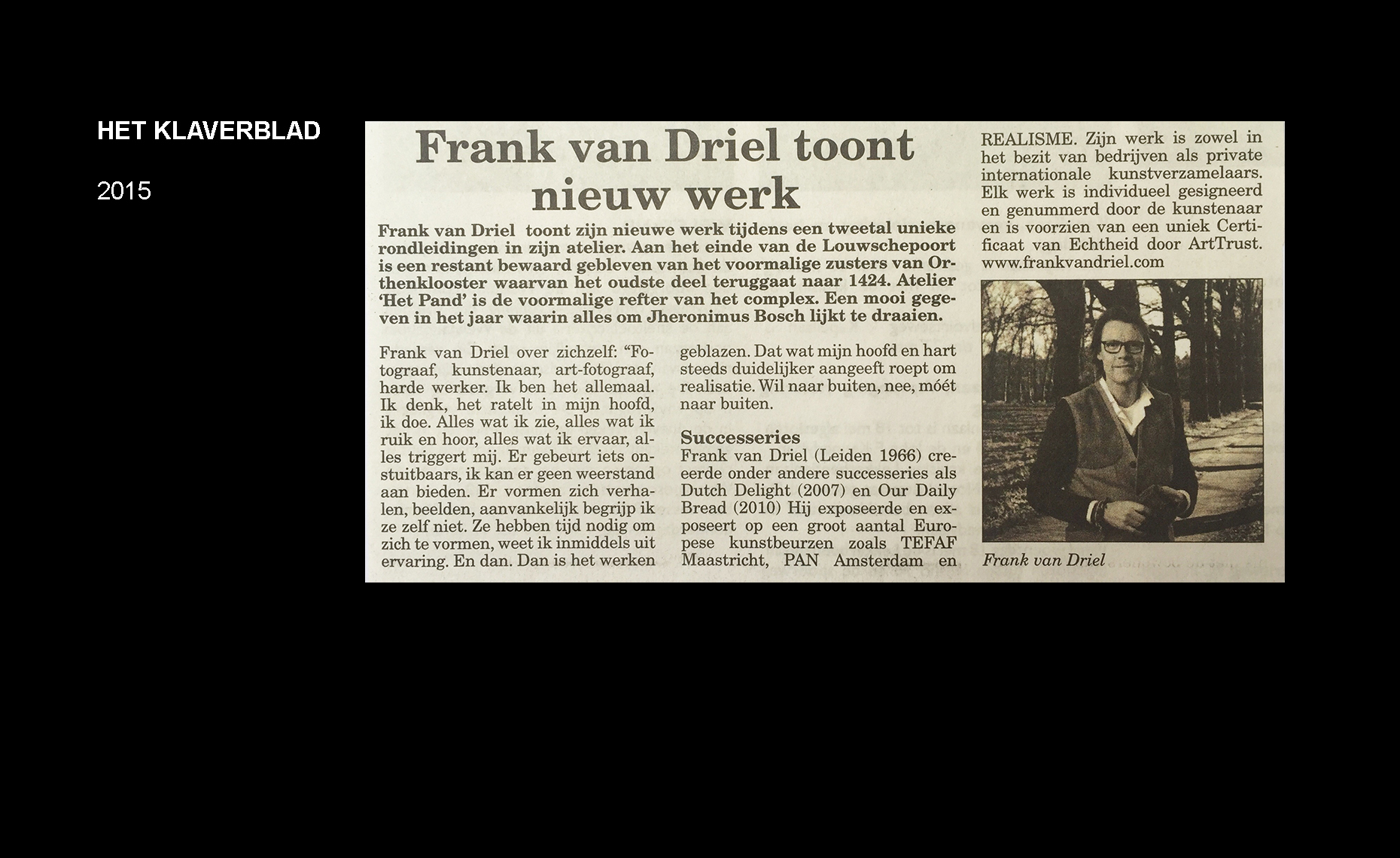 Frank van Driel Publicatie Klaverblad